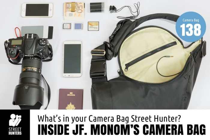 Inside JF. Monom's camera bag