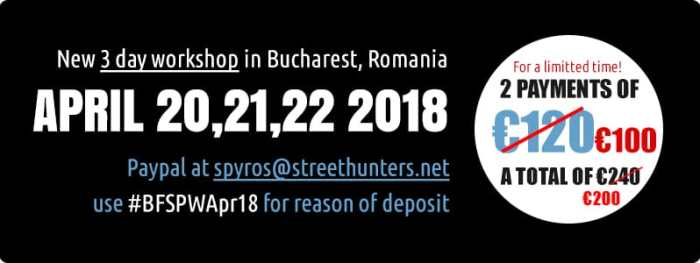 Flash Street Photography Workshop in Bucharest prices