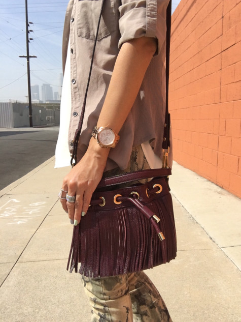 milly fringe bucket bag