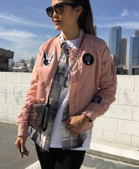 pink bomber jacket with patches