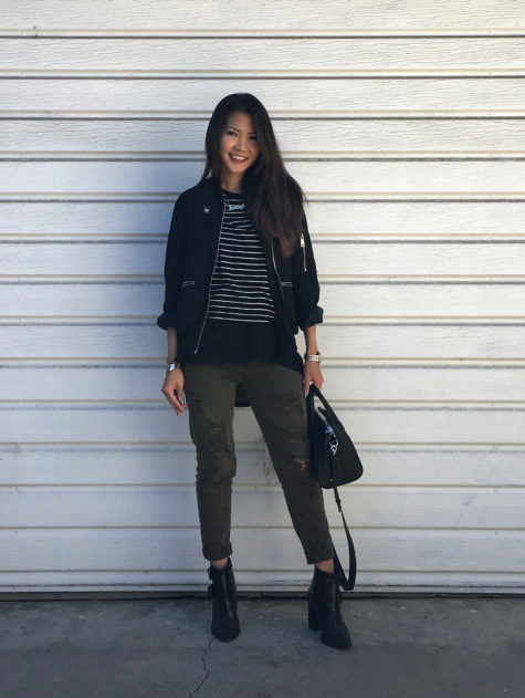 black bomber, stripes, ripped army jeans