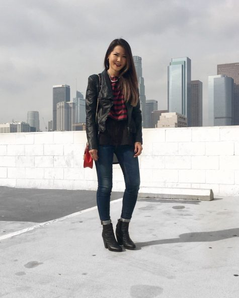 burgundy stripes and faux leather jacket outfit