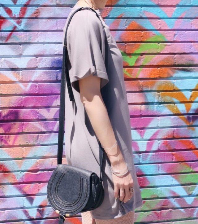 forever 21 cutout tshirt dress and chloe marcie bag