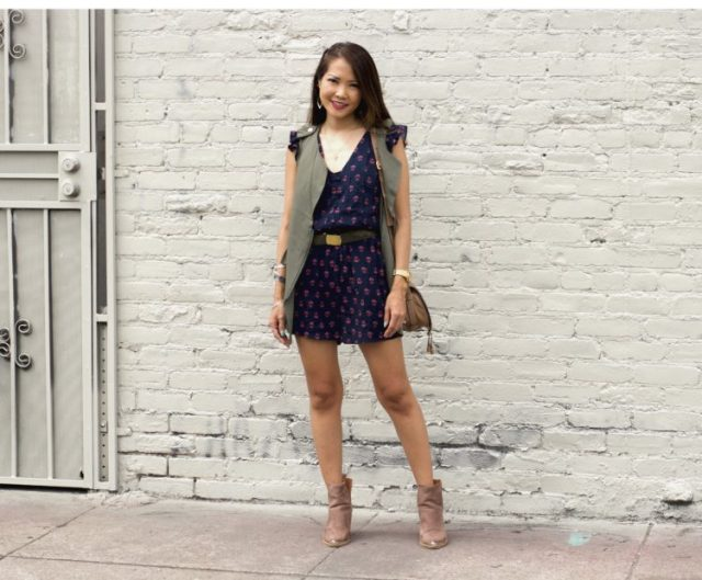 navy floral romper army vest outfit modcloth