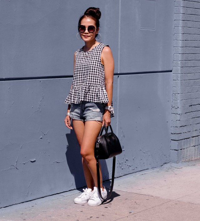 gingham top jean shorts outfit idea