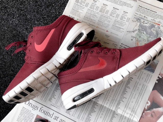 painting nikes autumn red