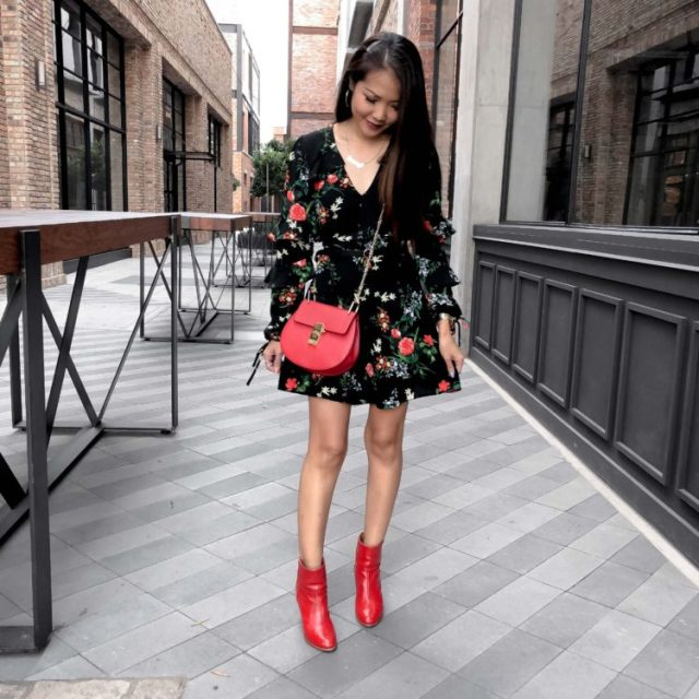 miss selfridge petite floral dress with angelus fire red booties