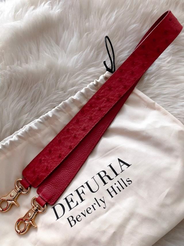 defuria beverly hills ostrich handbag strap red