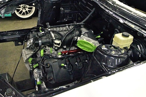 small resolution of views from the top clearly show the painted engine bay and where the inner fenders were cut out as well as the engine s comfortable fit
