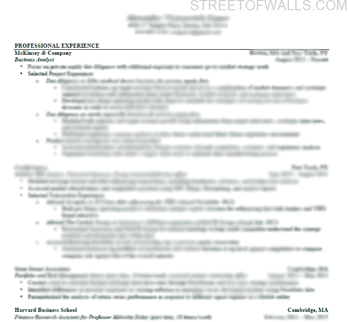 Consulting Resume & Cover Letter | Street Of Walls