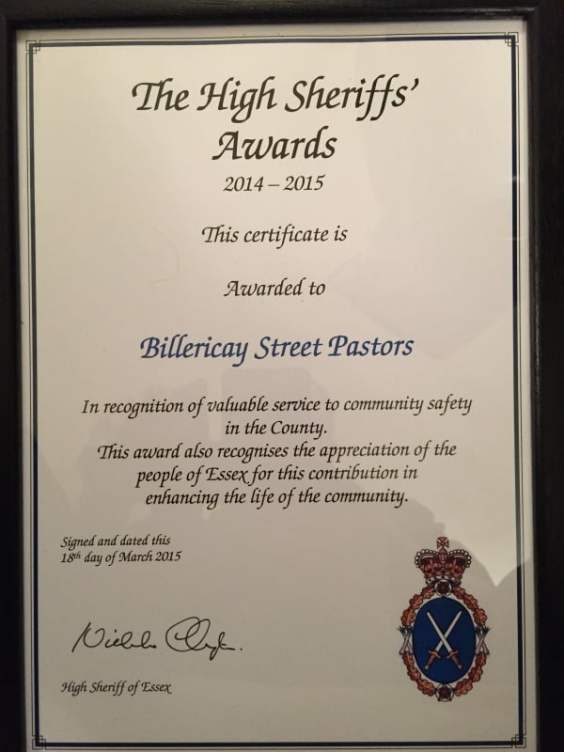 Billericay Street Pastors have been recognised for their service to community safety at the High Sheriff's Awards