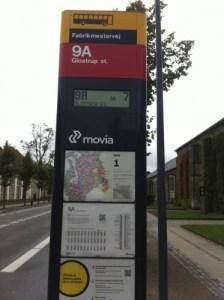 Copenhagen bus stop information kiosk.