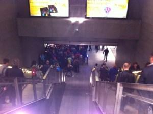 Norreport Metro Station (Copenhagen) is very crowded in rush hour