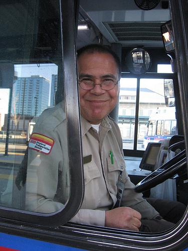 Spending on transportation operating expenses, like this bus driver's salary, create the most jobs, according to a new report. Photo: via Flickr.