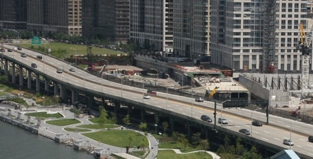The elevated Miller Highway running in front of Riverside South. Photo: Riverside South Planning Corp.