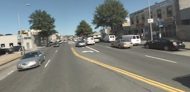 A pedestrian was killed at the intersection of Northern Boulevard and 212th Street this morning. The intersection lacks any safe way for pedestrians to cross the street. Image: Google Street View.