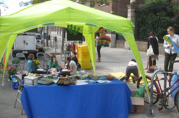Barnard's EcoReps set up this Park(ing) Space at Broadway and 117th.