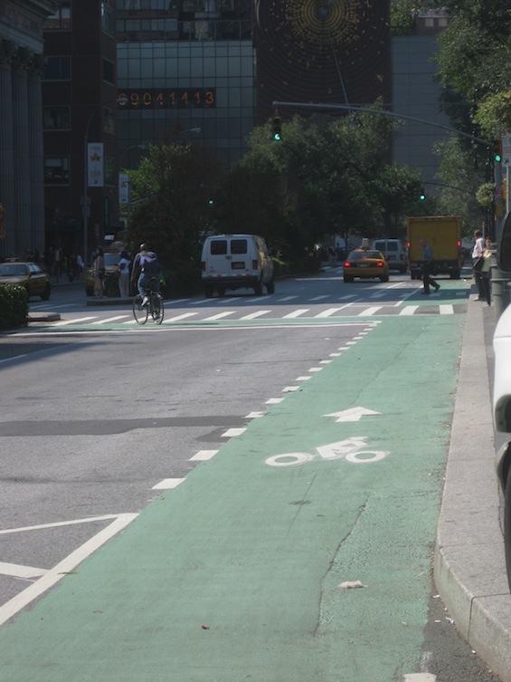 Along Union Square East, the bike lane continues down to 15th Street, though without physical separation. Photo: Noah Kazis.