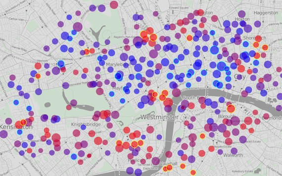 A website developed by __ maps bike-share systems in real times. London's full bike-share stations are represented here by red dots and empty stations by blue dots.