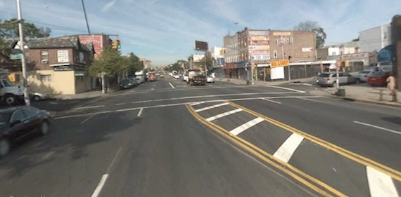 The intersection of Northern Boulevard and 108th Street is dangerous enough that Mayor Bloomberg announced the city's Pedestrian Safety Plan there, but has Corona received the livable streets improvements found elsewhere in the city? Image: Google Street View.