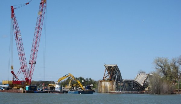 The State DOT disassembling an unsound bridge over Lake Champlain. Without new revenue streams, warns Richard Ravitch, this will be a common sight. Photo: Tri-State Transportation Campaign.