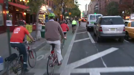 The fight over the Columbus Ave bike lane has centered on businesss ability to load and unload. Image: Clarence Eckerson.