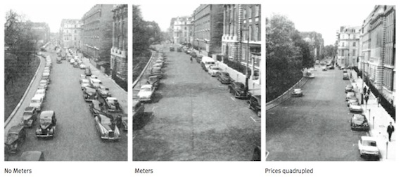 Grosvenor Square, London, the site of Europe's first parking meter, shows how putting a price on parking clears up the street and makes parking available. Image: ITDP.