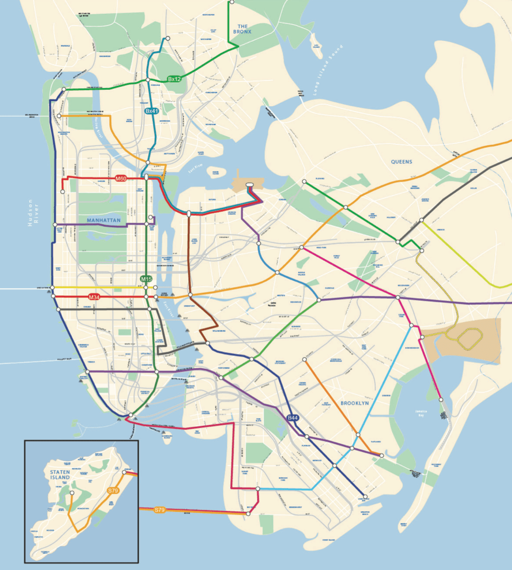 DOT's 2025 bus rapid transit fantasy map: 17 new high-capacity bus routes within 13 years. Image: NYC DOT