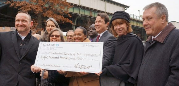 Elected officials announce an $800,000 donation from the JPMorgan Chase Foundation to help maintain plazas in low-income areas. Photo: Clarence Eckerson Jr.