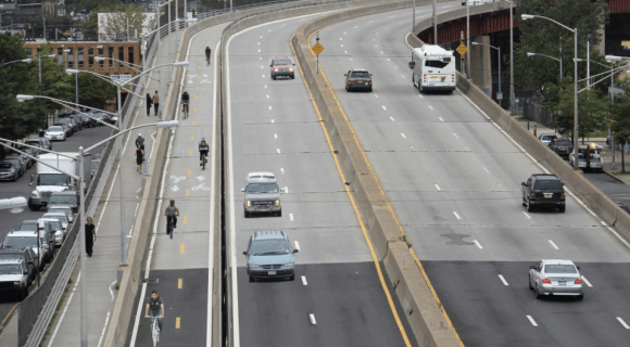 One southbound lane of the Pulaski Bridge would be converted to a two-way bikeway under the plan. Image: DOT
