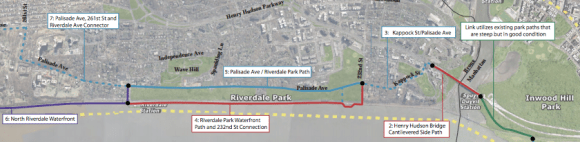 The plan for the Hudson River Greenway in the Bronx includes improvements in the next three years in blue, the next decade in purple, and the years beyond in red. Image: NYMTC