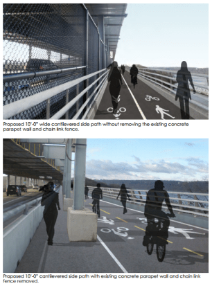 The plan proposes two options for a new, wider path across the Henry Hudson Bridge. Image: NYMTC