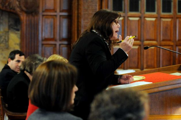 Maureen McCormick argues before the Court of Appeals. Photo: ##http://www.timesunion.com/local/article/Too-drunk-to-murder-4877749.php#photo-5296130##Albany Times-Union##