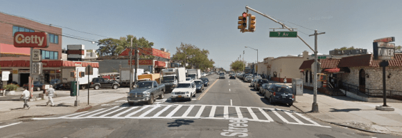 This is the crosswalk at Seventh Avenue and 65th Street where Xiaoci Hu, 75, was killed this morning. Photo: Google Maps