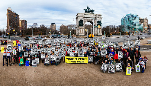 Supporters of home rule legislation for NYC speed limits at Grand Army Plaza Sunday. Photo: Dmitry Gudkov
