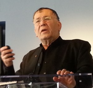 Jan Gehl speaks at an event today about plazas in low-income neighborhoods. Photo: Stephen Miller