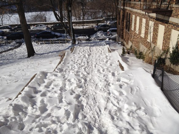They haven't been visible for a while, but there are stairs under that snow. Photo: Brad Aaron