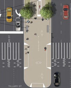 The Brooklyn Bridge path entrance will be widened and a center-running bike lane will be extended down Adams Street. Image: DDC