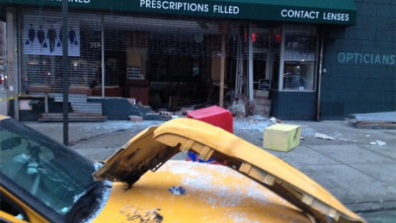A curb-jumping cab driver smashed through a storefront in the East Village. Photo: ##http://newyork.cbslocal.com/2014/03/02/cab-jumps-curb-slams-into-east-village-store-front/##CBS New York##