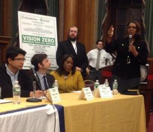 Public Advocate Letitia James speaks at yesterday's Vision Zero town hall in Brooklyn. Photo: Matthew Chayes/Twitter