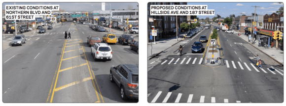 The striped median on Northern Boulevard at 61st Street, right, is set to receive concrete pedestrian islands, like those on Hillside Avenue, right. Image: DOT