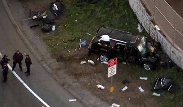 Nine people were injured, three critically, when a driver hit a wall on the New England Thruway in the Bronx. Photo: WNBC