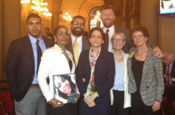 From left, Greg Thompson, Joy Clarke, DOT's Juan Martinez, Transportation Commissioner Polly Trottenberg, Aaron Charlop-Powers, Mary Beth Kelly, and Ellen Foote in Albany yesterday on a Families for Safe Streets visit to legislators. Photo: Families for Safe Streets/Twitter