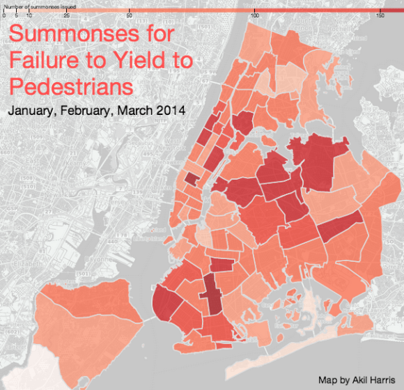 Data on moving violations remains stuck in the old format and can only be mapped by precinct. Map: NYC Moving Violations