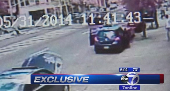 Top of frame: Three drivers collided in Midwood, sending one vehicle into Galina Truglio, who was in a crosswalk. Truglio, 63, was killed. NYPD filed no charges. Image: WABC