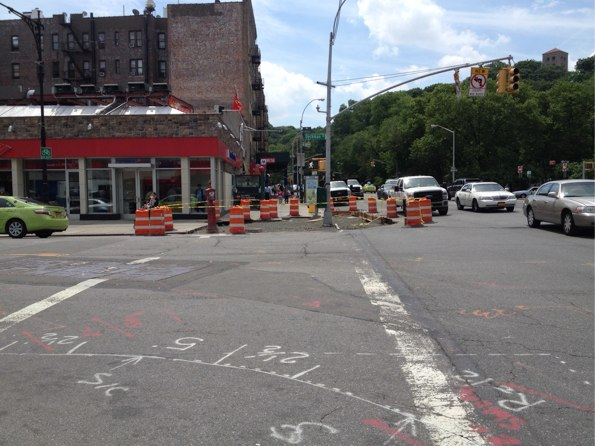 Opposite corner, looking south, where another curb extension is planned. Left turns from southbound Broadway onto Dyckman are also restricted, reducing conflicts between pedestrians and drivers.