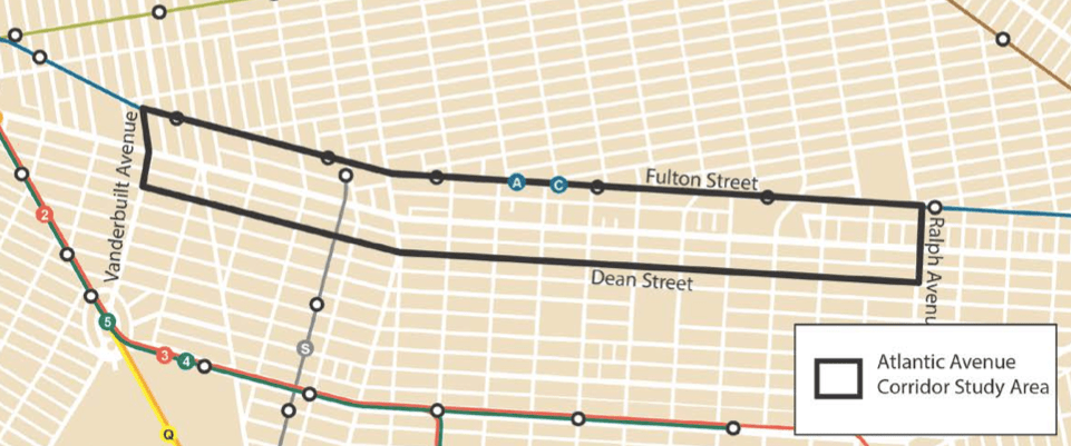 The Department of City Planning has launched a study of Atlantic Avenue between Vanderbilt and Ralph Avenues. The study area stretches two blocks in either direction. Image: DCP