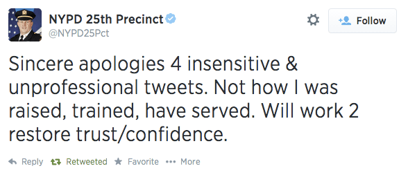 Thomas Harnisch, commanding officer of the 25th Precinct, apologized for his comments. Image via Twitter