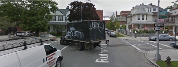 Would daylighting the intersection of Rutherford Place and Bay 16th Street have prevented the crash that killed Margherita Nanfro? With cursory media coverage and NYPD keeping crash reports hidden from view, the public may never know. Image: Google Maps