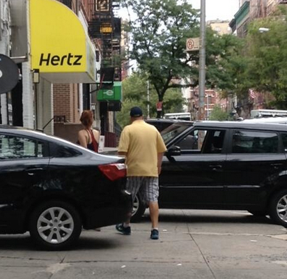 """Another persistent violator: car rental outlets and garages on W. 83rd Street in Manhattan, which ##https://twitter.com/kencoughlin/status/485457059551260672/photo/1##Ken Coughlin## describes as an """"incessant pedestrian slalom."""""""